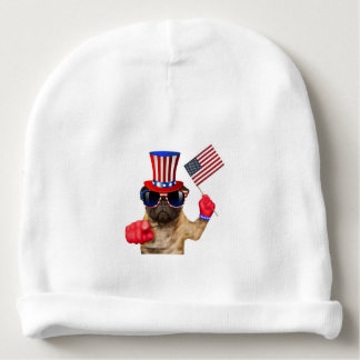 I want you ,pug ,uncle sam dog, baby beanie