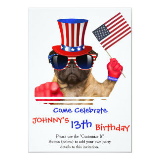 I want you ,pug ,uncle sam dog, card