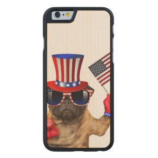 I want you ,pug ,uncle sam dog, carved maple iPhone 6 case
