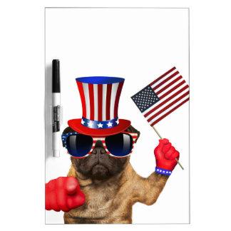 I want you ,pug ,uncle sam dog, dry erase board