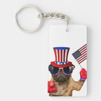 I want you ,pug ,uncle sam dog, keychain