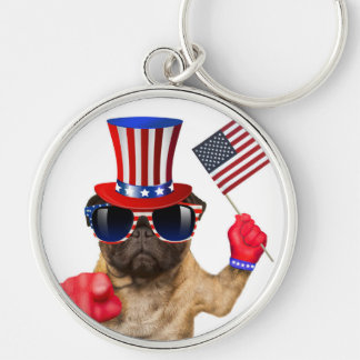 I want you ,pug ,uncle sam dog, keychain
