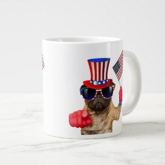 I want you ,pug ,uncle sam dog, large coffee mug