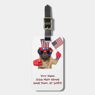 I want you ,pug ,uncle sam dog, luggage tag