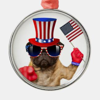 I want you ,pug ,uncle sam dog, metal ornament