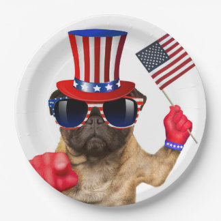 I want you ,pug ,uncle sam dog, paper plate