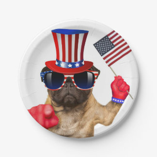I want you ,pug ,uncle sam dog, paper plate