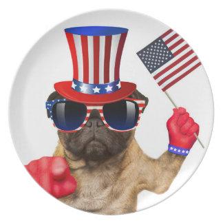 I want you ,pug ,uncle sam dog, plate