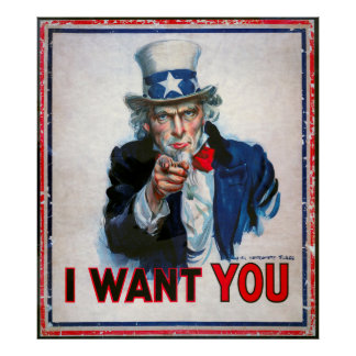 I WANT YOU says UNCLE SAM  1917 Print