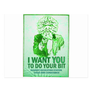 I Want You to do your bit - Green Man Speaks Postcard