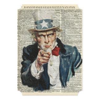 "I Want You Uncle Sam 5"" X 7"" Invitation Card"