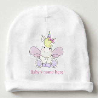 I was born a unicorn beanie hat personalised baby beanie