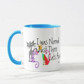 i was normal three cats ago funny cat mom mug