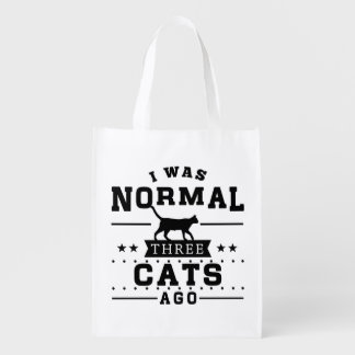 I Was Normal Three Cats Ago Grocery Bag