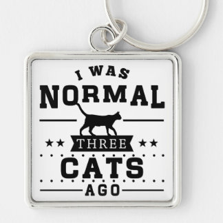 I Was Normal Three Cats Ago Keychain