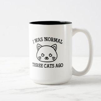 I Was Normal Three Cats Ago Two-Tone Coffee Mug