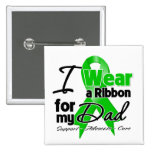 I Wear a Green Ribbon For My Dad 2 Inch Square Button