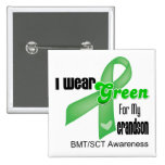 I Wear a Green Ribbon For My Grandson BMT/SCT 2 Inch Square Button