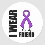 I Wear a Purple Ribbon For My Friend Stickers