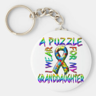 I Wear A Puzzle for my Granddaughter Basic Round Button Keychain