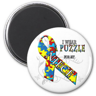 I Wear A Puzzle for my Niece 2 Inch Round Magnet