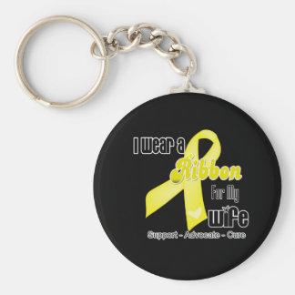 I Wear a Ribbon For My Wife - Sarcoma Basic Round Button Keychain