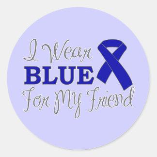 I Wear Blue For My Friend (Blue Awareness Ribbon) Round Sticker