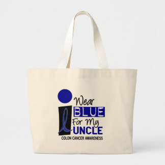 I Wear Blue For My Uncle 9 COLON CANCER Apparel Large Tote Bag