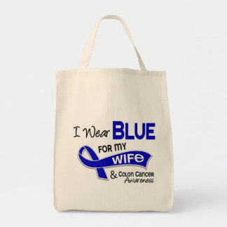 I Wear Blue For My Wife 42 Colon Cancer Grocery Tote Bag