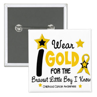 I Wear Gold For Bravest Boy 12 STAR VERSION 2 Inch Square Button