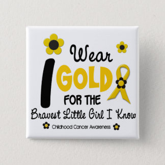 I Wear Gold For Bravest Girl 12 FLOWER VERSION 2 Inch Square Button