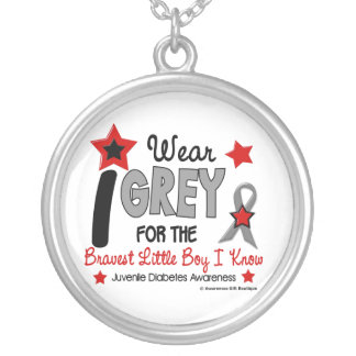 I Wear Grey 12 Bravest Little Boy Juv Diabetes Silver Plated Necklace
