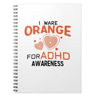 I Wear Orange For ADHD Awareness  Orange Ribbon Notebook