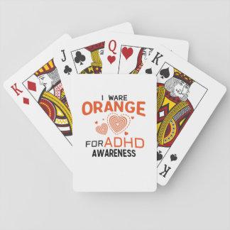 I Wear Orange For ADHD Awareness  Orange Ribbon Playing Cards