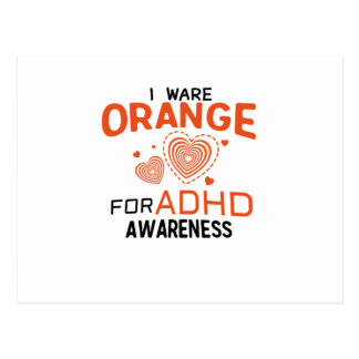I Wear Orange For ADHD Awareness  Orange Ribbon Postcard