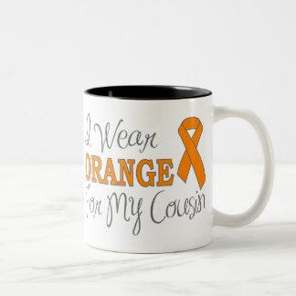 I Wear Orange For My Cousin (Orange Ribbon) Two-Tone Coffee Mug