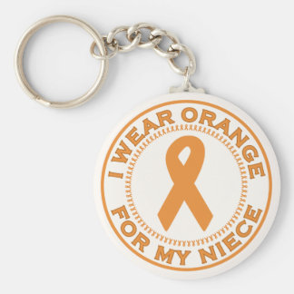 I Wear Orange For My Niece Basic Round Button Keychain