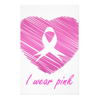 I wear Pink- A breast cancer awareness symbol Stationery