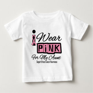 I Wear Pink Breast Cancer Aunt (Retro) Baby T-Shirt
