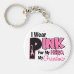I Wear Pink For My Grandma 19 BREAST CANCER Basic Round Button Keychain