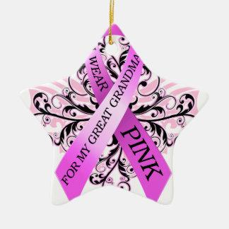 I Wear Pink for my Great Grandma.png Ceramic Star Ornament