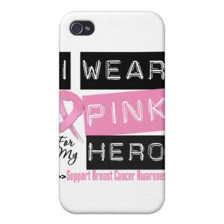 I Wear Pink For My Hero Breast Cancer.png Covers For iPhone 4