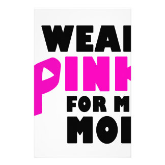 i wear pink for my mother stationery