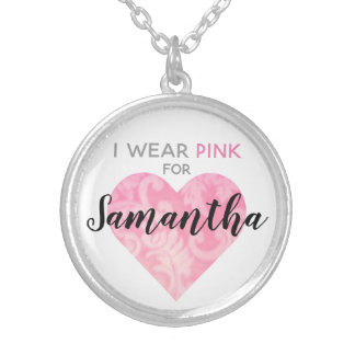 I Wear Pink Heart Necklace, Round, Customizable Silver Plated Necklace