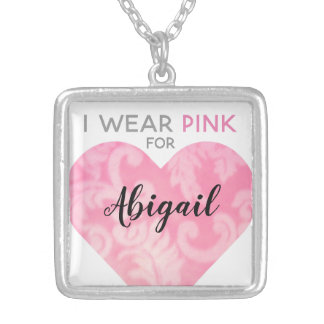 I Wear Pink Heart Necklace, Square, Customizable Silver Plated Necklace