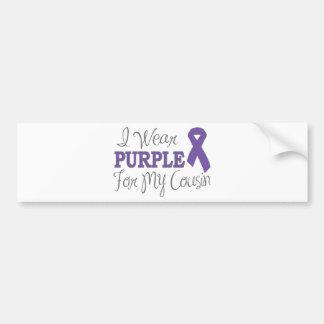 I Wear Purple For My Cousin (Purple Ribbon) Bumper Sticker