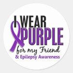 I Wear Purple For My Friend 10 Epilepsy Round Sticker