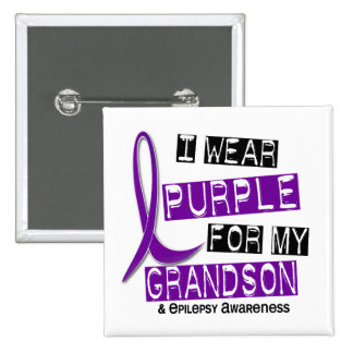 I Wear Purple For My Grandson 37 Epilepsy 2 Inch Square Button