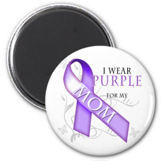 I Wear Purple for my Mom 2 Inch Round Magnet
