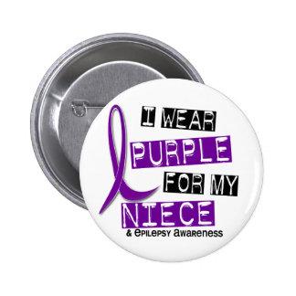 I Wear Purple For My Niece 37 Epilepsy 2 Inch Round Button